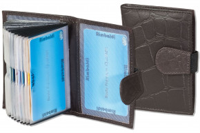 Rimbaldi® XXL credit card holder with 22 card compartments made of cow-hide with croco embossing in multitone brown