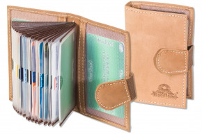 Woodland® XXL credit card holder with space for a total of 18 credit cards in soft, natural buffalo leather in Cognac
