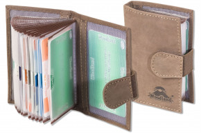 Woodland® XXL credit card holder with space for a total of 18 credit cards made of soft, natural buffalo leather in dark brown/taupe