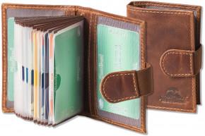 Woodland® XXL-Kreditkartenetui mit dem Protecto® RFID/NFC-Blocker Schutz für 18 Kreditkarten aus Multicolour Rindsleder in Cognac