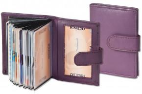 Rinaldo® XXL-Kreditkartenetui für insgesamt 19 Kreditkarten aus weichem, naturbelassenem Rindsleder in Aubergine