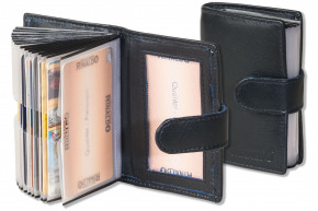 Rinaldo® XXL-Kreditkartenetui für insgesamt 19 Kreditkarten aus weichem, naturbelassenem Rind Nappaleder in Dunkelblau