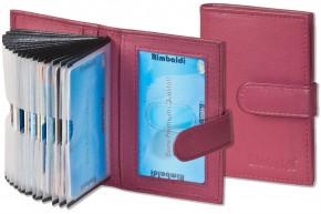 Rimbaldi - Kreditkartenetui mit 21 Kartenfächern aus weichem, naturbelassenem Rindsleder in Weinrot