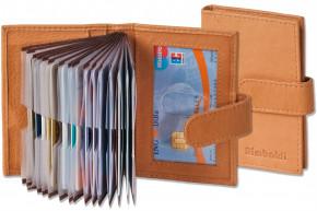 Rimbaldi® XXL-Kreditkartenetui für 21 Kreditkarten aus weichem, naturbelassenem Rindsleder in Natur