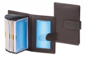 Rimbaldi® - Kreditkartenetui mit 19 Kartenfächern aus weichem, naturbelassenem Rinderleder in Dunkelbraun