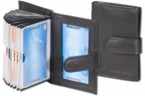 Rimbaldi® XXL-Kreditkartenetui mit 21 Kartenfächern aus weichem, naturbelassenem Rindsleder in Schwarz
