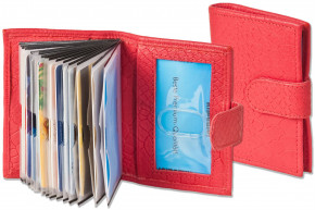 Rimbaldi® XXL credit card holder with 22 card slots made of soft, natural cow leather with crocodile embossing in red
