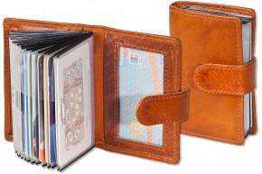 Woodstone® Kreditkartenetui mit Platz für insgesamt 19 Kreditkarten aus OIL PULL-UP Büffelleder in Cognac
