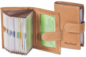 Woodland® XXL-Kreditkartenetui mit Protecto® RFID-Blocker Schutz und 19 Kartenfächern aus weichem, naturbelassenem Büffelleder in Cognac
