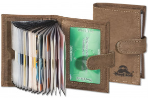 Woodland® XXL-Kreditkartenetui mit 19 Kartenfächern aus weichem, naturbelassenem Büffelleder in Dunkelbraun/Taupe