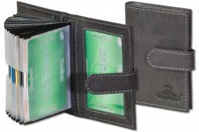 Woodland® XXL-Kreditkartenetui mit 19 Kartenfächern mit dem Protecto® RFID/NFC-Blocker Schutz aus weichem, naturbelassenem Büffelleder in Anthrazit