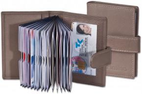 Platino - XXL-Kreditkartenetui mit 19 Kartenfächern aus weichem, naturbelassenem Rindsleder in Braun/Grau (Taupe)