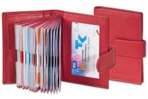 Platino - XXL-Kreditkartenetui mit 19 Kartenfächern aus weichem, naturbelassenem Rindsleder in Rot