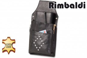 Rambaldi® - Professional Waiter wallet Holster with blind rivet adornment made of fine, soft cow nappa leather in black