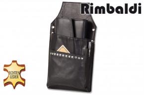 Rimbaldi® Profi Kellnerbörsen-Holster mit Blindnietenverzierung aus feinem, weichem Rindsleder in Schwarz