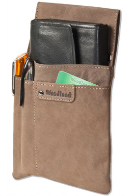 Woodland® Very robust professional waiter-holster made of soft, natural buffalo leather in dark brown / taupe