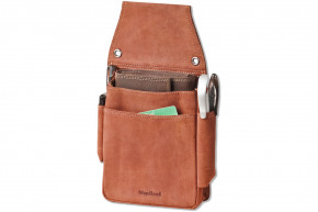 Woodland® Very robust professional waiter wallet holster made of soft, natural buffalo leather in cognac