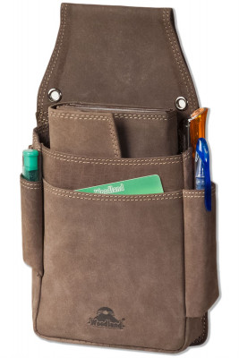 Woodland® Very robust professional waiter wallet holster made of soft, natural buffalo leather in dark brown / taupe