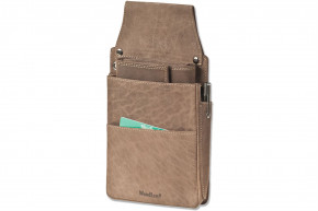 Woodland® Professional Waiter wallet Holster made of soft, natural buffalo leather in dark brown / taupe