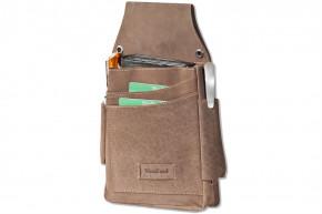 Woodland® Robustes Profi-Kellnerbörsen-Holster aus weichem, naturbelassenem Büffelleder in Dunkelbraun/Taupe