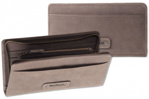 Woodland® - Modern travel / document bag made of soft, untreated buff in Dark Brown / Taupe