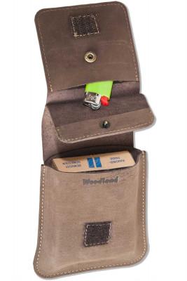 Woodland® - Zigarettenenschachtel-Etui aus naturbelassenem Büffelleder in Dunkelbraun/Taupe
