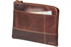 Woodland® Hochwertige Ledertasche für Computer-Tablets aus rustikalem OIL PULL-UP Büffelleder in Braun
