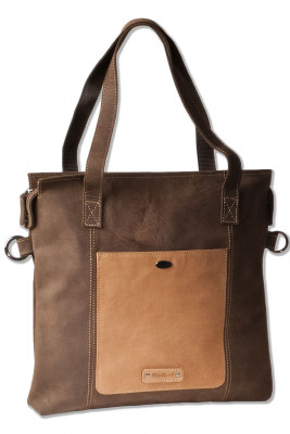 Woodland® leather tote / shoulder bag made of natural buffalo leather in dark brown / taupe