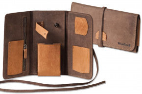 Woodland® High quality leather case for tobacco pipes and accessories made of soft, untreated buff