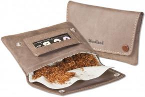 Woodland® Hochwertige Tabaktasche aus weichem, naturbelassenem Büffelleder in Dunkelbraun/Taupe
