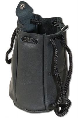 Rimbaldi® - Lederbeutel mit Kordelzug und Druckknopfverschluss aus besonders weichem Rind-Nappaleder in Schwarz