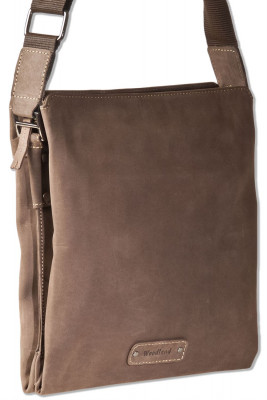 Woodland® Shoulder bag with natural buffalo leather tablet compartment in dark brown / taupe