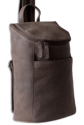 Woodland® - Rucksack aus weichem, naturbelassenem Büffelleder in Dunkelbraun/Taupe