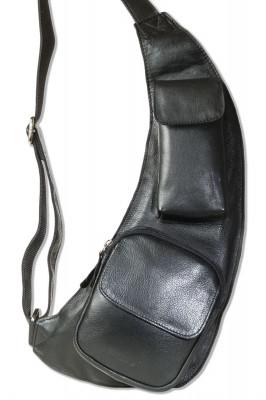 Rimbaldi® Moderner Body Bag aus weichem Rind-Nappaleder in Schwarz