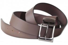 Rimbaldi® Voll-Ledergürtel mit verschiedenen masssiven Metallschnalle/Hartvernickelt aus glattem Büffelleder matt/Dunkelbraun