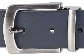 Rimbaldi® full- 100% leather belt with solid metal buckle / hard nickel-plated and with black buffalo leather/satin
