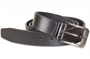 Full leather belt with metal buckle masssiver, smooth buffalo leather - satin / black