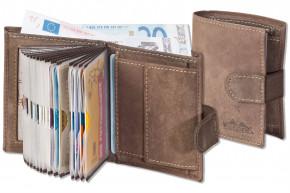 Woodstone® Super-Kompakte Geldbörse mit XXL-Kreditkartentaschen für 18 Karten aus naturbelassenem Büffelleder in Dunkelbraun/Taupe