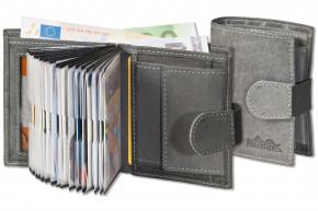 Woodstone® Super-Kompakte Geldbörse mit XXL-Kreditkartentaschen für 18 Karten aus naturbelassenem Büffelleder in Anthrazit