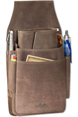 Woodstone® Very robust professional waiter-holster made of soft, natural buffalo leather in dark brown / taupe